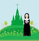 stock photo of nun  - nun praying in front of the church  - JPG
