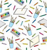 Supplies For Drawing. Seamless Pattern