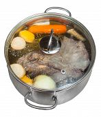 Boiling Of Beef Broth In Steel Pan