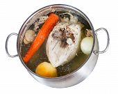 Boiling Of Chicken Broth Isolated