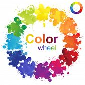 stock photo of color wheel  - Creative color wheel made from paint splashes - JPG