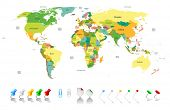 image of political map  - Political world map with infographic elements for your designs - JPG