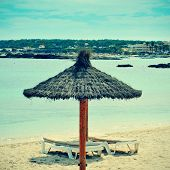 picture of Es Pujols Beach in Formentera, Balearic Islands, Spain, with a retro effect