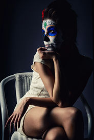 picture of day dead skull  - Day of the dead girl with sugar skull make - JPG