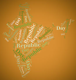 picture of asoka  - Tag or word cloud Republic Day related in shape of India - JPG
