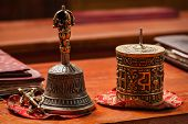 Tibetan Buddhist still life - vajra, bell and prayer wheel. Hemis gompa, Ladakh, India.