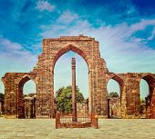 Vintage retro effect filtered hipster style travel image of Iron pillar in Qutub complex - metallurg