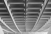 Abstract architecture ceiling of modern building interior in airport, Taiwan, Asia.