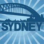 Sydney skyline reflected with blue sunburst vector illustration