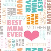 Seamless best mom in the world text cover design mother's day background pattern in vector
