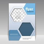 picture of hexagon pattern  - Business Corporate Flyer Template with Hexagonal Pattern - JPG