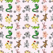 Animal Soccer Seamless Pattern