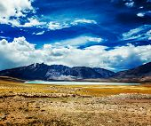 Vintage retro effect filtered hipster style travel image of Himalayan lake Kyagar Tso, Ladakh, India