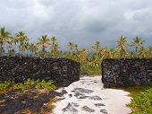 Massive Man-made Rock Walls Of Pu'uhonua O Honaunau - Place Of Refuge