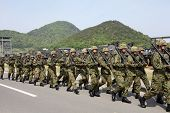 Japanese armed marching soldiers