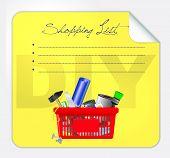 Vector post-it shopping list illustration