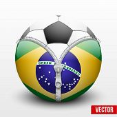 stock photo of hemisphere  - Brazil symbol inside a Soccer ball - JPG