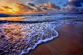 picture of inlet  - Serene beach destination sunrise with breaking wave crest and sea foam