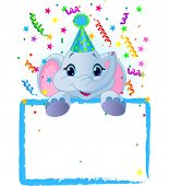 Adorable Baby Elephant Wearing A Party Hat, Looking Over A Blank Starry Sign With Colorful Confetti.