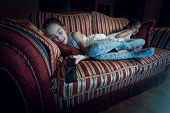 Two Girls Fell Asleep On Sofa While Watching Tv