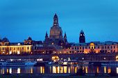 Dresden view from Elbe river by night