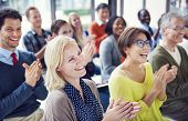 stock photo of applause  - Group of Multiethnic Cheerful People Applauding - JPG