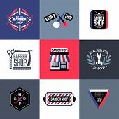 Set Of Vector Barber Shop Labels, Emblems And Design Elements