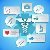 stock photo of scalpel  - Medical pharmacy ambulance paper infographic with icons and speech bubbles vector illustration - JPG