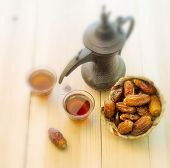 Arabic Tea and dates - vintage effect
