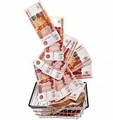 Million Banknotes Rubles of the Russian Federation falling in your shopping basket cart - isolated on white background