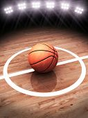 3d rendering of a basketball on a court with stadium lighting