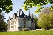 Chateau d'Azay-le-rideau from the garden in Loire Valley, France