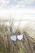 Two Love Hearts On Sand Dunes In Summer