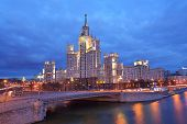 MOSCOW, RUSSIA - MARCH 11, 2014: One of Seven Sisters, building on Kotelnicheskaya embankment in eve