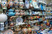 Handmade crockery at Turkish market