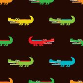 Seamless crocodile for kids fabric background pattern in vector