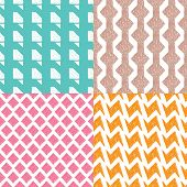 Seamless easy to edit colorful geometric patterns pastel hand drawn background pattern set in vector