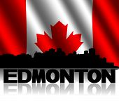 Edmonton skyline and text reflected with rippled Canadian flag illustration