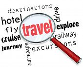Travel Word Magnifying Glass Vacation Holiday Explore Destinations poster