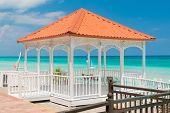 Colorful terrace overlooking the beautiful Varadero beach in Cuba