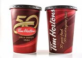 Tim Hortons Cups Depicting Celebrations Of Fifty Years Of Existence
