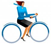 business woman on bicycle