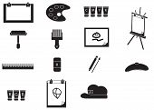 Silhouette Artist Painting Tools Icon Set (vector)