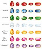 picture of refraction  - Seven different sets of cut gems  - JPG