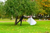 Newlywed couple in autumn park
