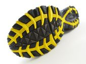 Running Shoe With Yellow And Black Tread Pattern