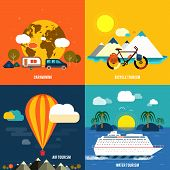 stock photo of passenger ship  - Icons set of traveling planning a summer vacation tourism and journey objects and passenger luggage in flat design - JPG
