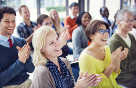 picture of applause  - Group of Multiethnic Cheerful People Applauding - JPG