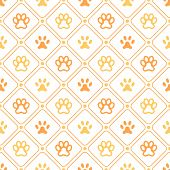 Animal seamless vector pattern of paw footprint, line and dot