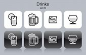 Drinks icons. Set of editable vector monochrome illustrations.